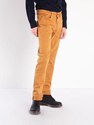 Pantalon straight twill camel homme
