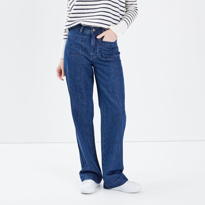 Jeans flare à poches plaquées denim brut femme