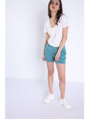 Short chino 4 poches bleu canard femme