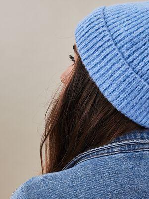 Bonnet bleu gris femme