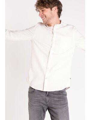 chemise col mao homme denim ecru