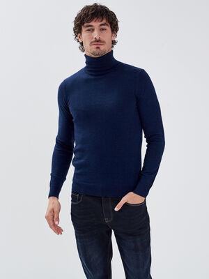 Pull 100 laine merinos bleu fonce homme