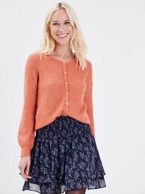 Gilet manches longues boutonne orange fonce femme