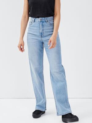 Jeans large taille haute denim bleach femme