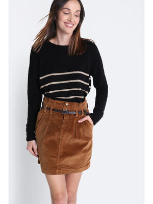 Jupe droite ceinturee marron femme