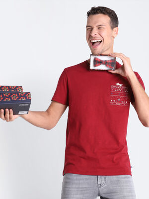 T shirt Instinct poche plaquee bordeaux homme