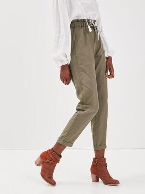 Pantalon carotte taille haute vert kaki femme
