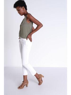 Pantalon cigarette blanc femme