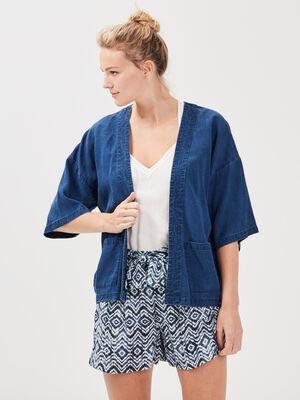 Veste kimono eco responsable denim stone femme