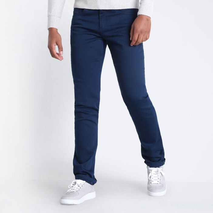 Jeans straight 5 poches denim blue black homme