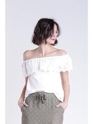 T shirt epaule blanc femme