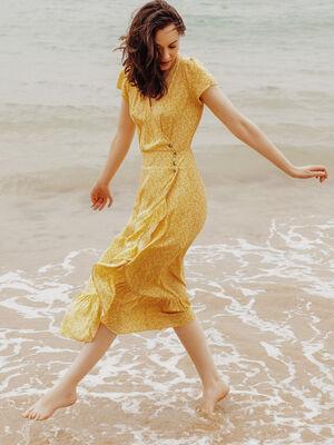 Robe longue evasee jaune fonce femme