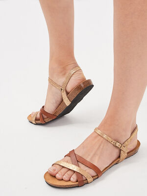 Sandales plates en cuir marron femme