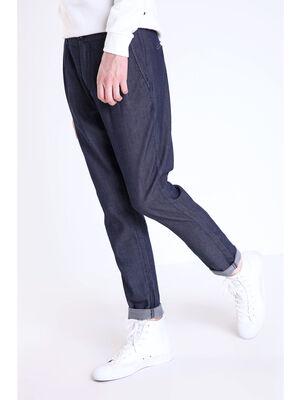 Pantalon chino a pinces en coton bleu fonce homme