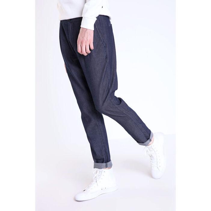 outlet online where can i buy high fashion Pantalon chino à pinces en coton bleu foncé homme   Vib's