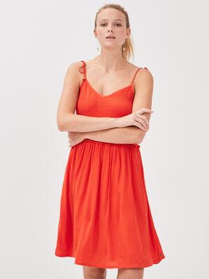 Robe evasee a buste smocke rouge corail femme