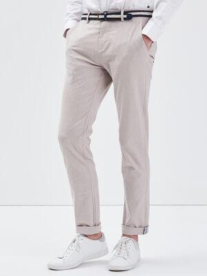 Pantalon chino ceinture ecru homme
