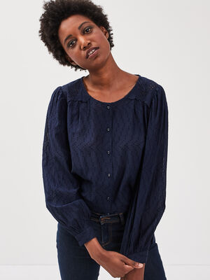 Chemise manches longues bleu fonce femme