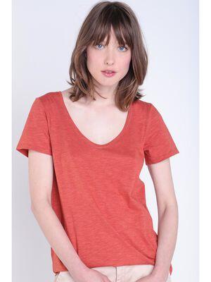 T shirt basique orange fonce femme