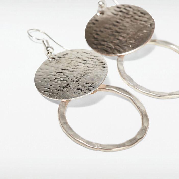 Boucles d'oreilles pendantes couleur argent femme