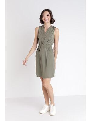 Robe unie sans manches detail ceinture vert femme