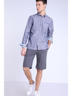 Short coton lin gris fonce homme