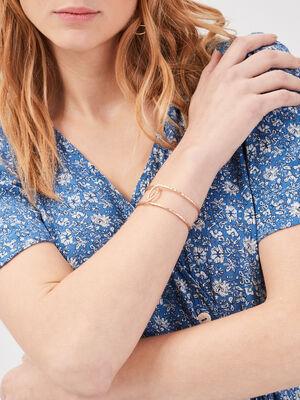 Bracelet manchette filaire couleur or femme