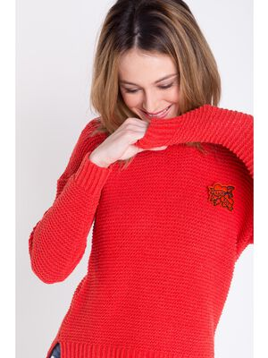 pull col rond femme laage dos rouge