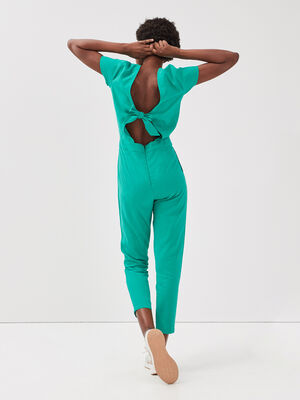 Combinaison pantalon noeud dos vert femme