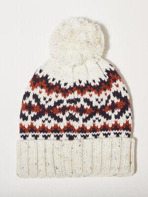Bonnet tricote a pompon ecru homme
