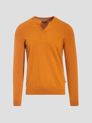 Pull eco responsable jaune moutarde homme