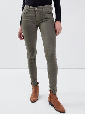 Pantalon skinny enduit vert kaki femme
