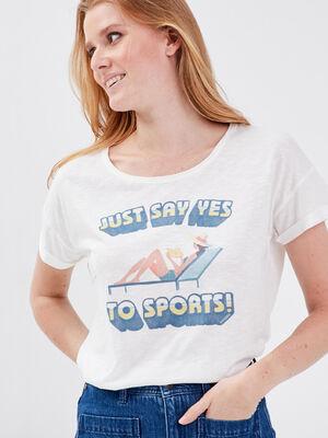 T shirt eco responsable ecru femme