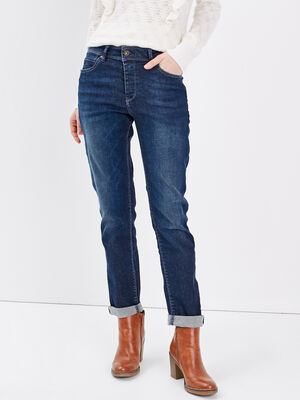 Jeans girlfriend taille haute denim dirty femme