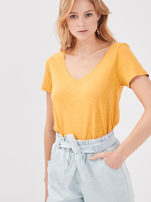 T shirt eco responsable jaune femme