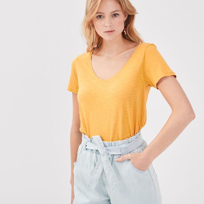 T-shirt éco-responsable jaune femme