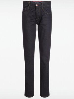 Jeans slim surcoutures denim brut enduit homme