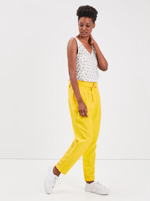 Pantalon loose taille standard jaune femme