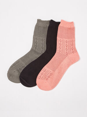Lot 3 paires de chaussettes rose corail femme
