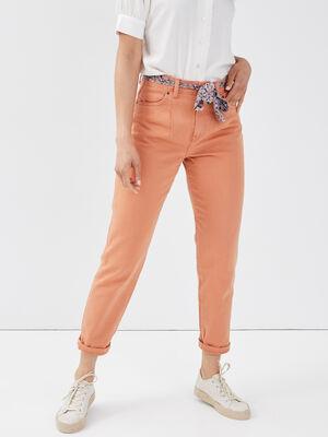 Pantalon mom ceinture foulard terracotta femme