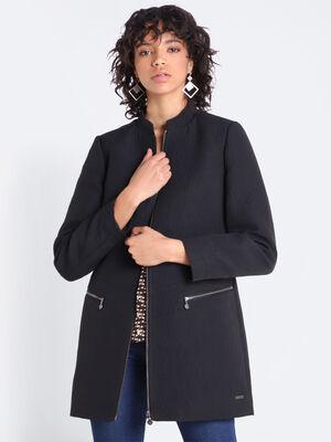 Manteau droit col mao noir femme