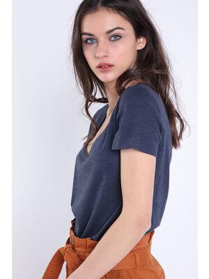 T shirt manches courtes Instinct bleu fonce femme