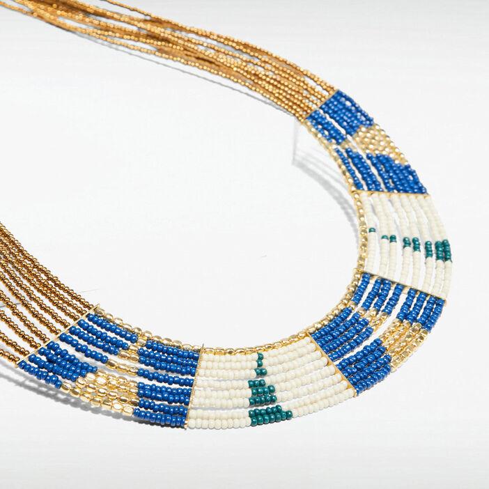 Collier multi-rangs perles couleur or femme