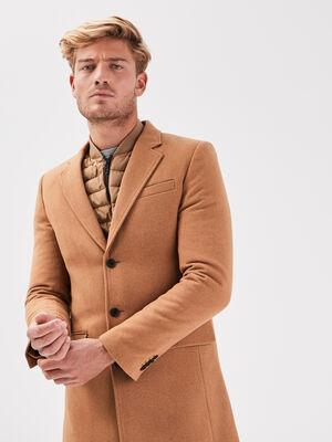 Manteau droit boutonne beige homme