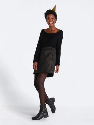 Jupe droite taille haute noir femme