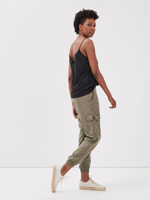 Pantalon eco responsable vert kaki femme