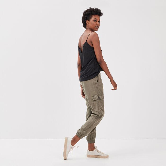 Pantalon éco-responsable vert kaki femme