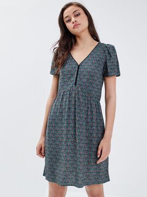 Robe evasee detail au dos vert turquoise femme