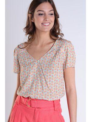 Blouse imprimee manches courtes multicolore femme