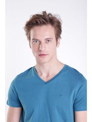 T shirt manches courtes vert canard homme